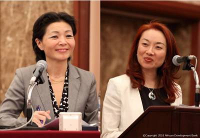 Ms. Atsuko Toda (Director of Agricultural Finance and Rural Development, AfDB) and Ms. Fumiko Iseki (Executive Director, SAA)