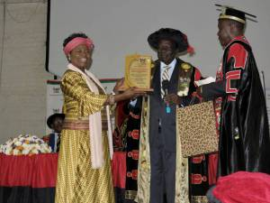 Professor Ruth Oniang'o, Chair of SAA board received the honorary doctorate degree on behalf of Ryoichi Sasakawa