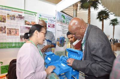 Engr. (Mrs.) Leony Halos-Kim SAA Postharvest Handling and Agro-processing Director also received booth visitors and explained about Multi Crop Thresher Prototype